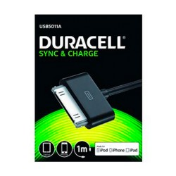 CABLE DURACELL USB - APPLE 30 PIN - CARGA /DATOS IPHONE 4 / 4S / 3 / 3GS / IPOD TOUCH SERIES / IPOD NANO - 1M -NEGRO