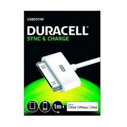 CABLE DURACELL USB - APPLE 30 PIN - CARGA /DATOS IPHONE 4 / 4S / 3 / 3GS / IPOD TOUCH SERIES / IPOD NANO - 1M -BLANCO