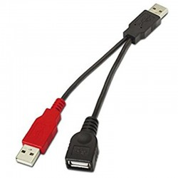 CABLE USB 2.0 CON ALIMENTACIÓN NANOCABLE 10.01.1900 - CONECTORES USB MACHO/HEMBRA - ALIMENTACIÓN TIPO A MACHO - 15CM - NEGRO