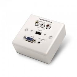 ROSETA DE PARED NANOCABLE 10.35.0002 - CONEXIÓN VGA / JACK 3.5 / USB 2.0 / 3X RCA - COLOR BLANCO