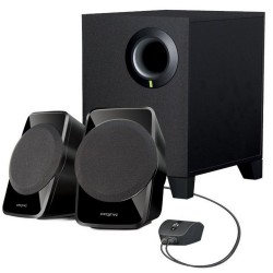 ALTAVOCES 2.1 CREATIVE A120 - 9W RMS (SATELITES 2x2.5W RMS - SUBWOOFER 4W RMS) - 75dB - MANDO CON CABLE - NEGRO