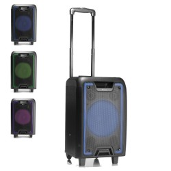 ALTAVOZ PORTĮTIL NGS WILD METAL - 120W - BLUETOOTH - FM - USB/MICROSD/AUX IN - LUCES LED - 2 ENTRADAS MICRÓFONO - PANTALLA LED -