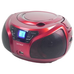 REPRODUCTOR CD DENVER TCU-206 RED - 2X 1W RMS - USB - MP3 -RADIO FM - DISPLAY ILUMINADO - JACK 3.5MM - RED ELÉCTRICA / 6 PILAS C