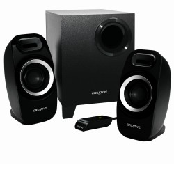 ALTAVOCES 2.1 CREATIVE INSPIRE T3300 - JACK STEREO - 2X5.5W - SUBWOOFER 16W RMS - MANDO CON CABLE - NEGRO